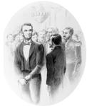 """Heco meets Abraham Lincoln at the White House,"" illustrated by Jackson Morisawa, 1995. Courtesy of the Joseph Heco Society of Hawai'i."