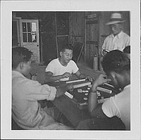 [Men playing mah-jong, Rohwer, Arkansas, October 1, 1944]