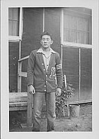 [Young man in letterman sweater, Rohwer, Arkansas]