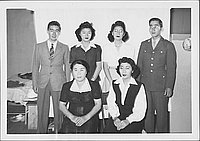 [United States Army soldier with Ninomiya family in barracks, Rohwer, Arkansas, November 26, 1944]