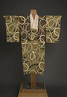 "[Olive green and brown nagajuban (long underkimono) with circle and ""nu"" character pattern]"