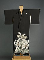 [Dark brown montsuki kimono with phoenix and pine]