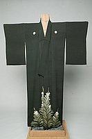 [Dark brown kimono with pine cone design]
