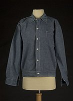 [Blue striped sensuji worker's jacket, Hakalau, Hawaii, 193-]