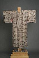 [Taupe kimono with origami crane design]