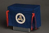 [Small blue bridal yutan (furniture cover) with white oak leaf cluster mon, Hawaii, ca. 1936]