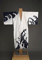 [White yukata with navy blue nami (wave) design]