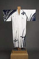 [White yukata with navy blue iris design]