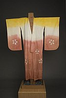 [Yellow, white and coral kimono with shibori sakura design, Ewa, Hawaii, 193-]