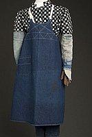 [Blue denim apron with white decorative stitching, Ewa, Hawaii]