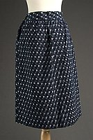 [Dark indigo kasuri dirndl skirt with basketweave pattern, Fukushima, Japan]