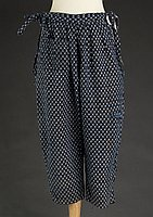 [Indigo kasuri momohiki (pantaloons), Hawaii, 1920s]