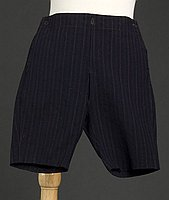 [Black boy's hetchi pansu (button-on pants) with red and green pinstripes, Ewa, Hawaii]