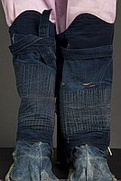 [Right denim kyahan (legging) with kohaze fasteners, Ewa, Hawaii]