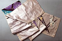 [Double-sided obi with turquoise and purple medallion design and bird and floral design, Fukushima, Japan]
