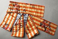 [Double-sided child's obi with floral design over orange stripes and floral design over blue background, Fukushima, Japan, 1920-1939]