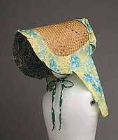 [Slat sunbonnet with green, blue, and yellow trim, Puunene, Maui]