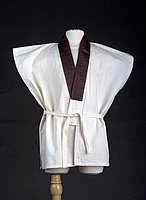 [White rice bag vest juban (undershirt) with brown sateen collar, Ewa, Hawaii]