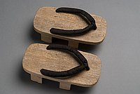 [Geta with black velvet straps]