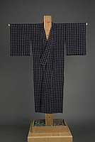 [Navy women's summer kimono with gray bone design]