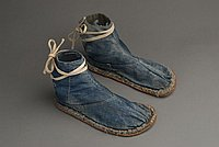 [Blue denim tabi with rubber soles, Ewa, Hawaii]
