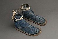 [Blue denim tabi with rubber soles, Ewa, Hawaii]