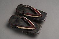 [Black lacquered geta, 193-]