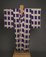 [Purple and beige kimono with square plaid design, Kapaa, Hawaii]