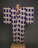 [Purple and beige kimono with square plaid design, Kapaa, Hawaii]