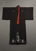 [Black kimono with pine and ume (plum) blossom design]