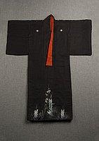 [Black kimono with pine and ume (plum) blossom design]