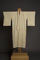 [Pale yellow Niigata chirimen kimono with valley or wave design, Niigata, Japan]