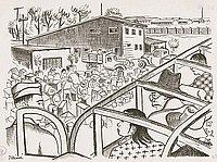 [Waiting to disembark from the bus at Tanforan Assembly Center, San Bruno, California, 1942]