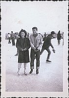 [Boy and girl in ice skates, Heart Mountain, Wyoming, 1943]