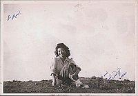 [Portrait of Fumi Munekiyo sitting on ground, Heart Mountain, Wyoming, May 27 1944]