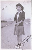 [Portrait of Kim Yakayama, with Heart Mountain in background, Wyoming, 1944]
