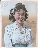 [Betty in blue headband, half-portrait, Heart Mountain, Wyoming,