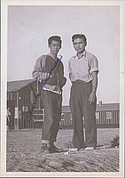 [Two young men in front of barracks, Heart Mountain, Wyoming, 1944]