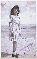 [Portrait of young woman, Yuri, in dress, Heart Mountain, Wyoming, ca. 1944-1945]