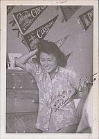 [Lillian Sugita in aloha shirt, Heart Mountain, Wyoming, ca. 1944-1945]