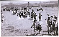 [Heart Mountain evacuees heading back to camp after sending off friends, Heart Mountain, Wyoming, May 1045]