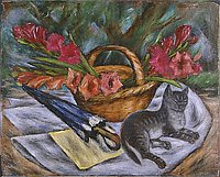 Still Life: Cat, Umbrella, Flowers