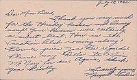 [Postcard to Clara Breed from Margaret Ishino, Arcadia, California, July 18, 1942]