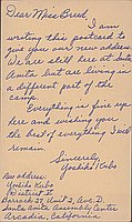 [Postcard to Clara Breed from Yoshiko Kubo, Arcadia, California, May 8, 1942]