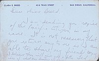 [Postcard to Clara Breed from Tetsuzo (Ted) Hirasaki, Arcadia, California, July 22, 1942]