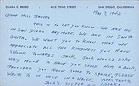 [Postcard to Clara Breed from Hisako Watanabe, Arcadia, California, May 7, 1942]