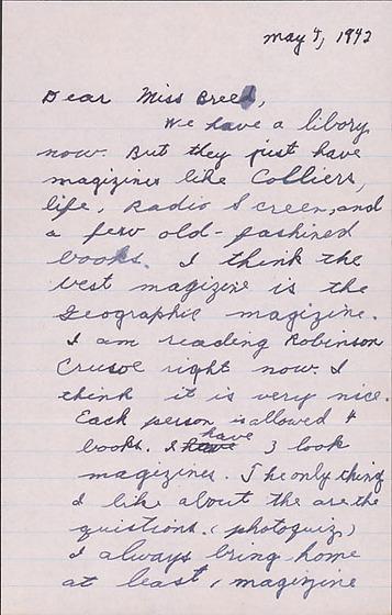 letter to clara breed from katherine tasaki arcadia california