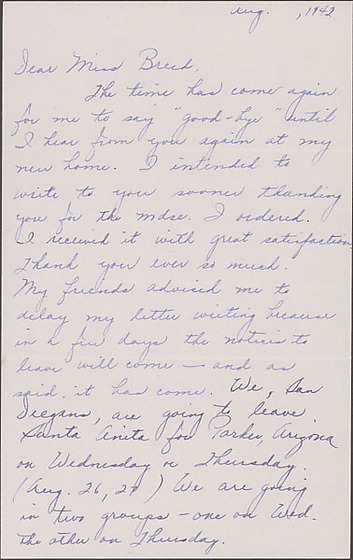 Letter to Clara Breed from Louise Ogawa, Arcadia, California