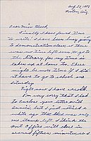 [Letter to Clara Breed from Katherine Tasaki, Poston, Arizona, August 28, 1943]