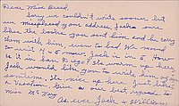 [Postcard to Clara Breed from William and Jack Watanabe, Arcadia, California, July 15, 1942]